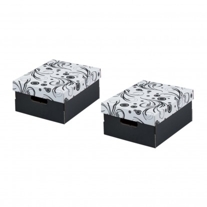 Tendri Black Boxes with Pattern lids - A4 pack of 2