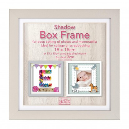 "Grey Shadow Box Deep Frame  -10x10"" with mount or 12x12"" without"