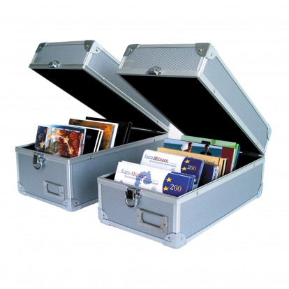 Collectors Aluminium Case with handles - for Square coin sets etc