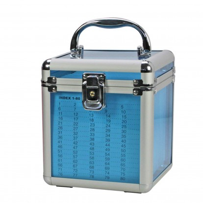 Blue Transparent Case with Aluminium Fixings plus hanging pockets for 80 CD/DVD discs