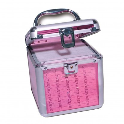 Pink Transparent Case with Aluminium Fixings plus hanging pockets for 80 CD/DVD discs