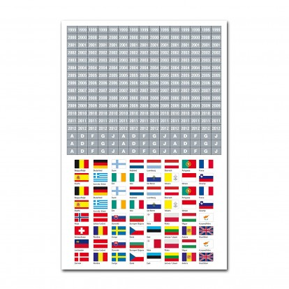 Flags of Europe self-adhesive Labels - 1 sheet with dates
