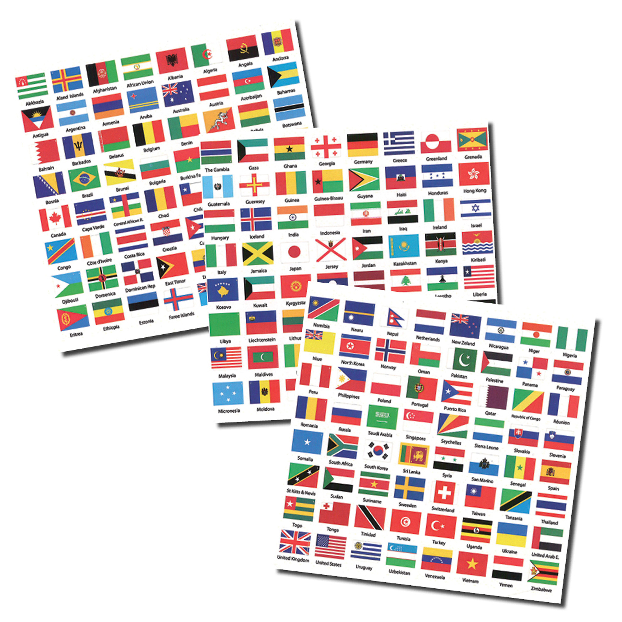 Flags of the World self-adhesive Labels - 3 sheets with 192
