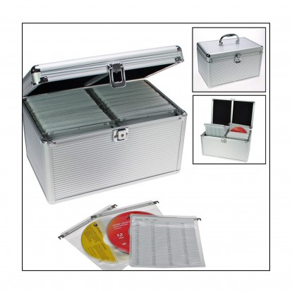 Aluminium Case with hanging pockets for 200 CD/DVD discs