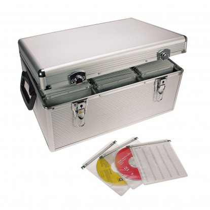 Aluminium Case for CD/DVDs Holds 510 in hanging pockets -lockable