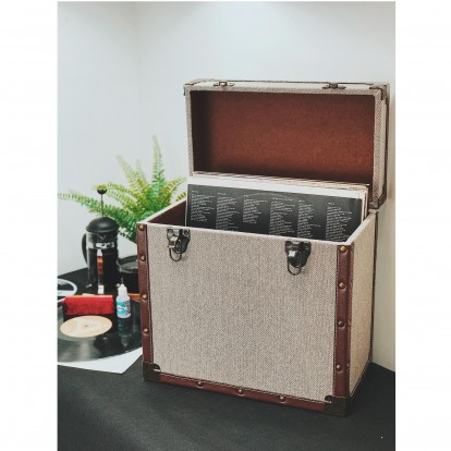 12 inch Vintage Luggage Style LP Vinyl Storage Case - Grey Cloth and Faux Leather edging