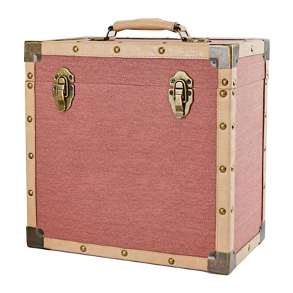 12 inch Vintage Luggage Style LP Vinyl Storage Case - Burgundy Cloth and Tan Faux Leather edging