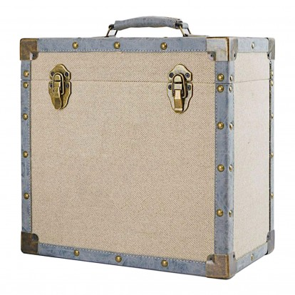 12 inch Vintage Luggage Style LP Vinyl Storage Case - Cream Cloth and Grey Faux Leather edging