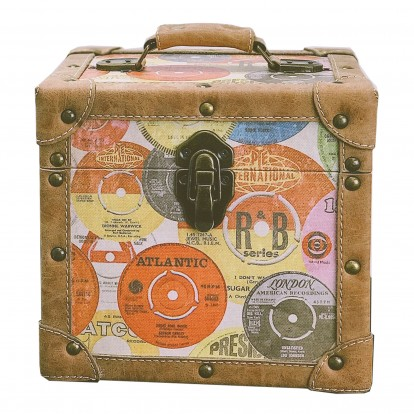 "Record Case for Vinyl 7"" Singles - Retro Vinyl Design with Stitched and Studded Leather trim"