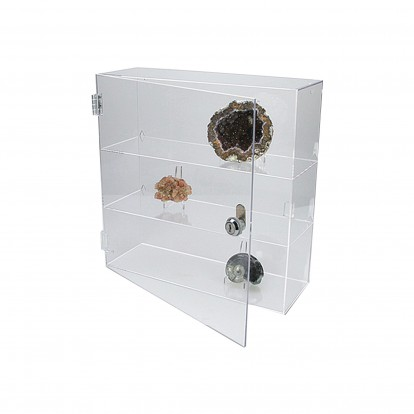 Acrylic Lockable Display Case with hinged door and 2 shelves 240