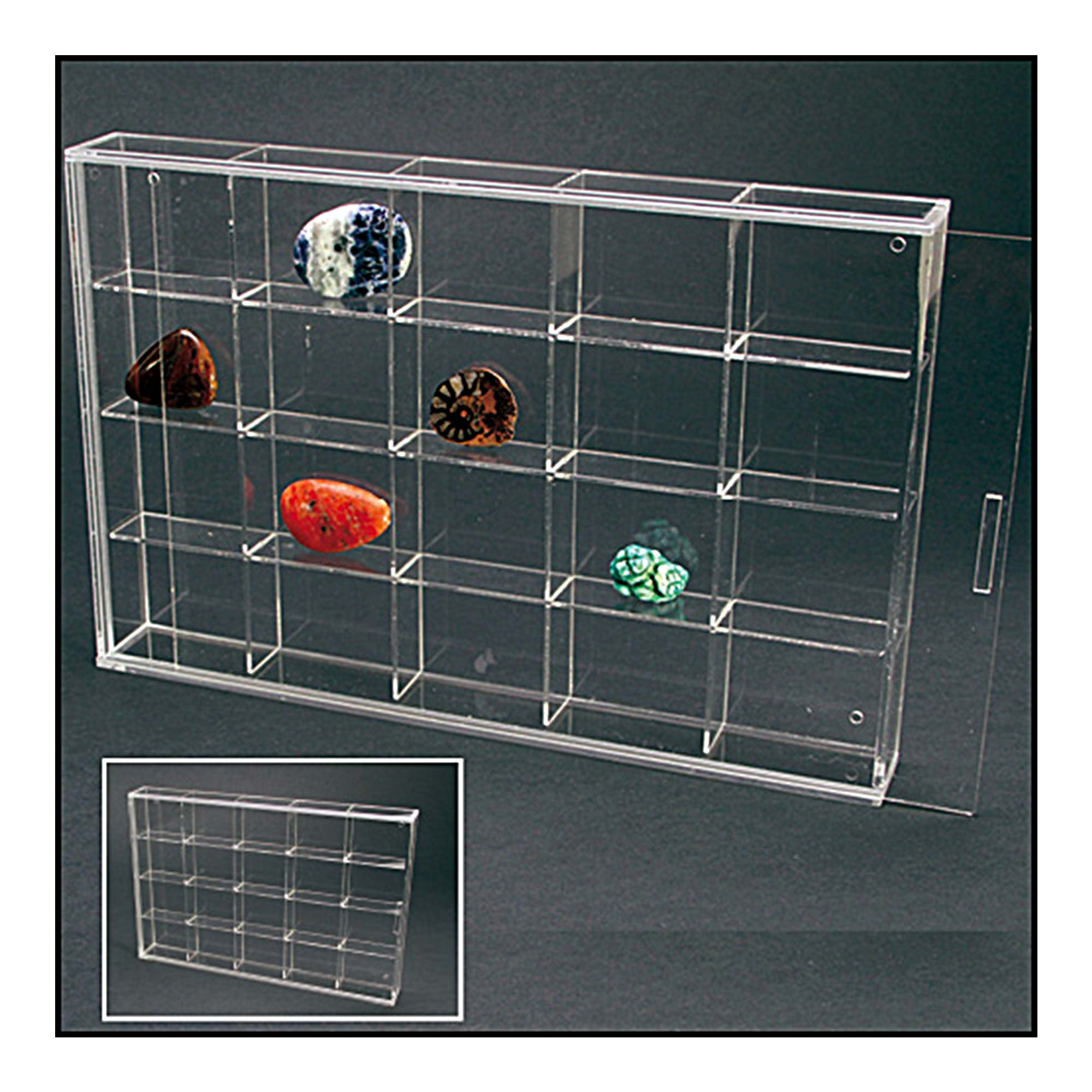Acrylic Display Case With Sliding Door 300mm Wide 20 Spaces