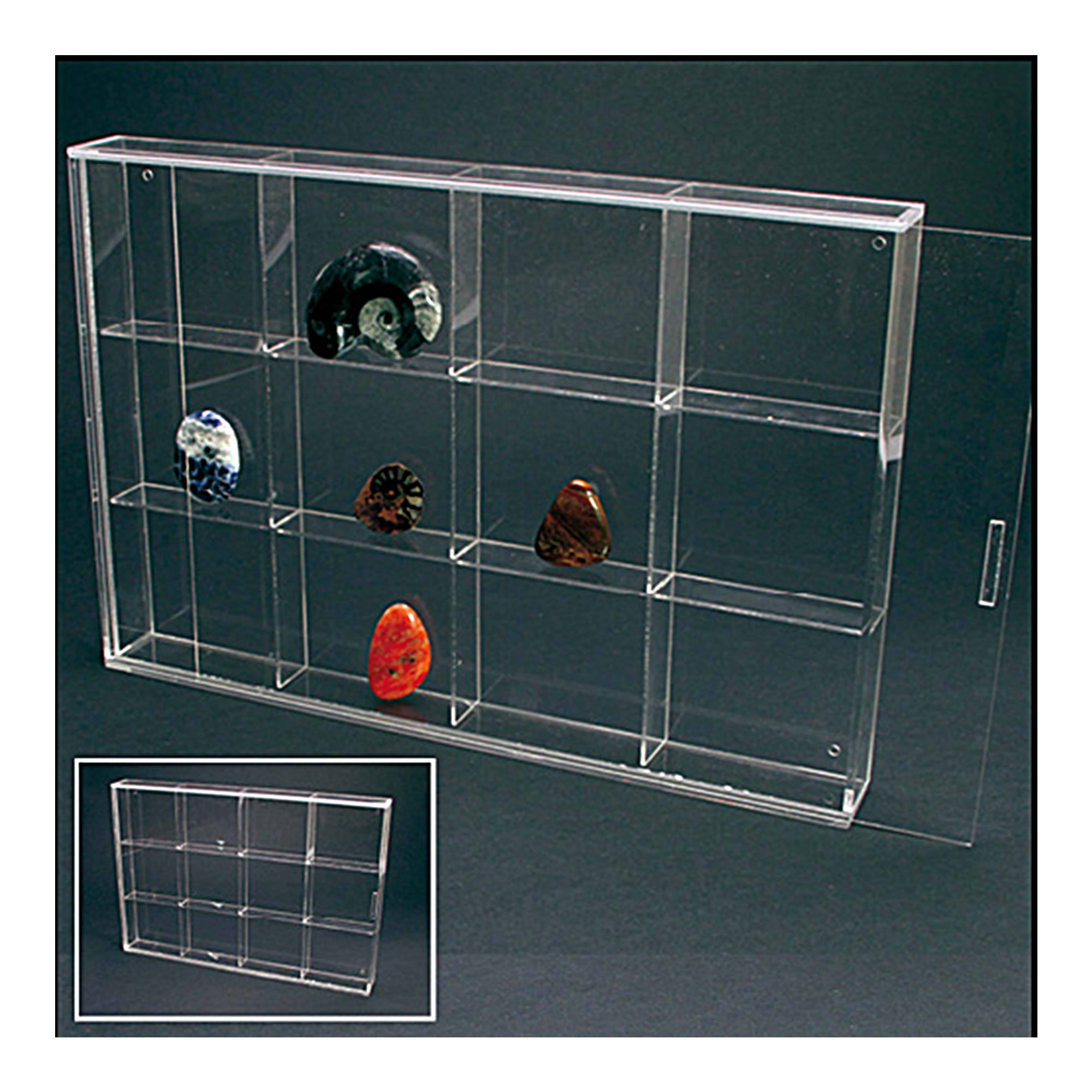 Acrylic Display Case With Sliding Door 350mm Wide 12 Spaces