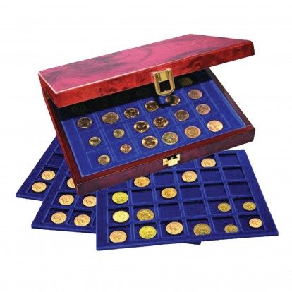 Premium Coin Box Burl Wood Lacquer finish for 3 Premium Trays