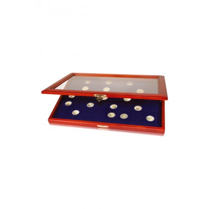 Wooden Display Showcases for Coins & Medals - coins up to 38mm, 24 spaces