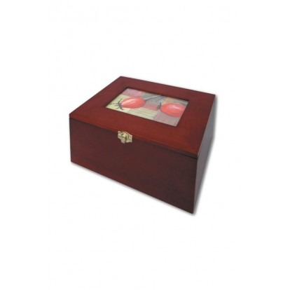 Real Mahogany Wood Box for Photo & Postcards with 5 Index Cards