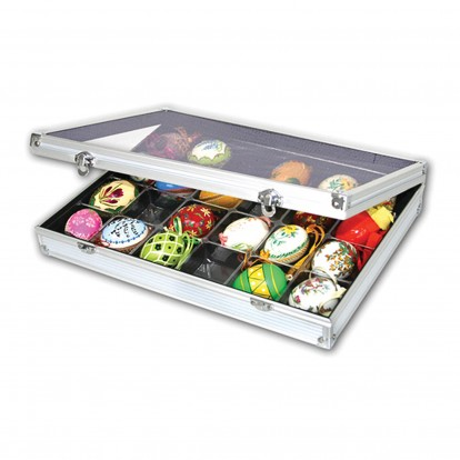 Collectors Aluminium Extra Depth Showcase with 24 compartments