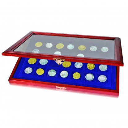 Wooden coin showcase 15 square spaces 50x50mm