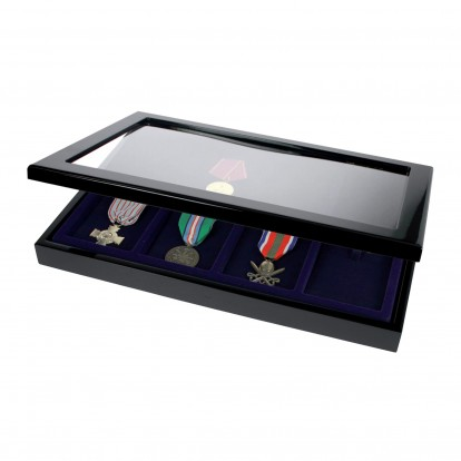 Black Gloss Finish Wooden Showcase for 8 Medals