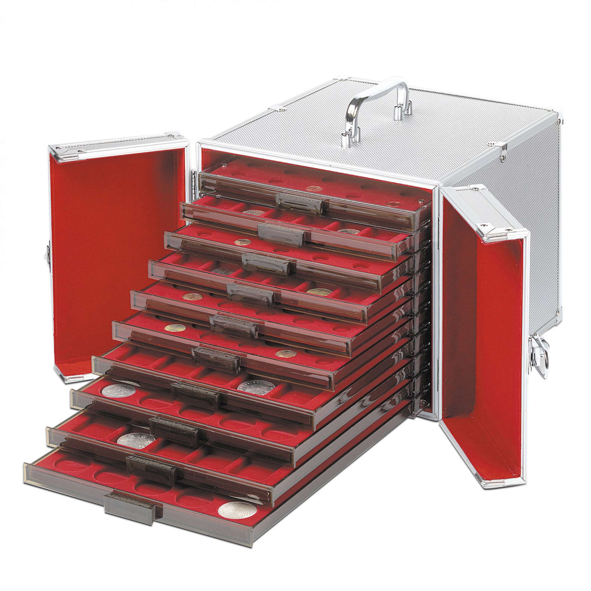 Aluminium Coin Carry Case To Store Presentation Drawers