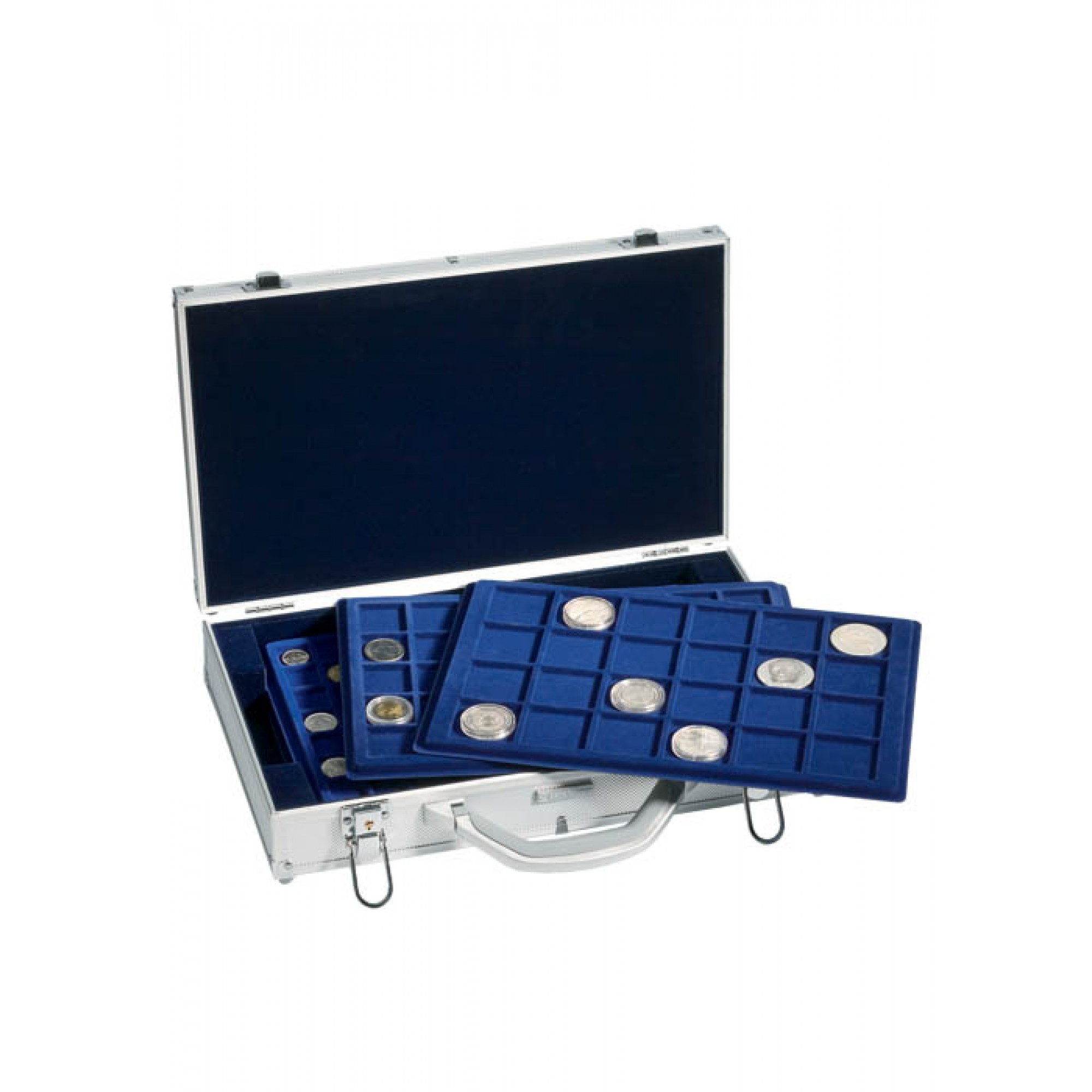 Aluminium Coin Carry Case For Coin Trays Blue Velour