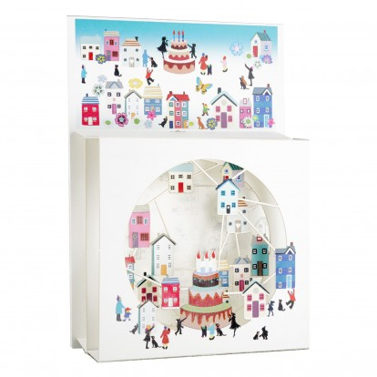 Birthday Cake with Houses- 3D Magic Box Laser-cut Greeting Card - single