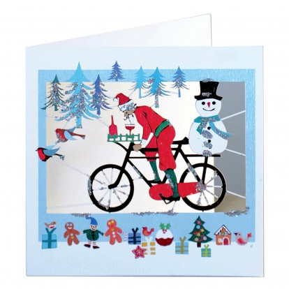 Santa on Bicycle with Snowman- Amazing Laser-cut Glitter Greeting Card