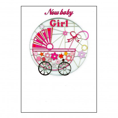 New Baby Girl - Amazing Laser-cut Greeting Card