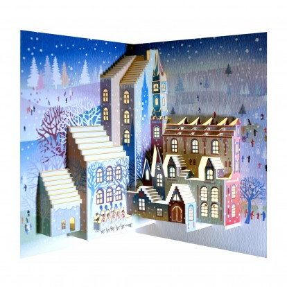 Christmas Carol Singers Town Scene - Amazing Pop-up Laser Cut Greeting Card