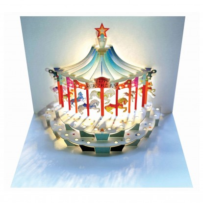 Happy Birthday Carousel - Amazing Pop-up Greeting Card