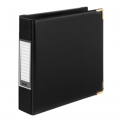 A5 Sovereign Black 2-ring Padded Binder Album with Gold corners