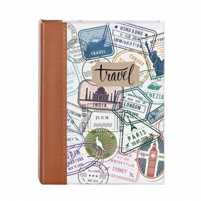 """Travel 6x4"""" Photo Slip-in Album with Leather effect  Stitched Spine -100 prints"""