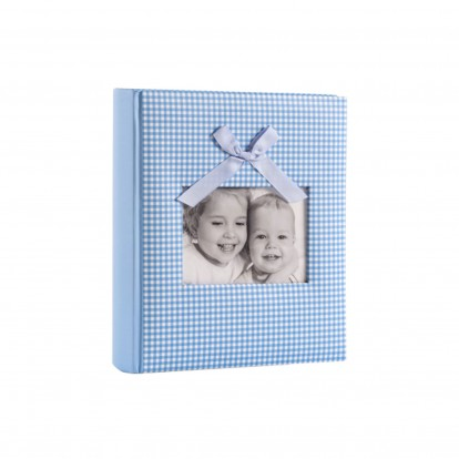 """Baby Gingham Fabric with Bow 6x4.5"""" Slip-in Memo Photo Album for 200 prints -Blue"""