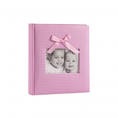 """Baby Gingham Fabric with Bow 6x4.5"""" Slip-in Memo Photo Album for 200 prints -Pink"""