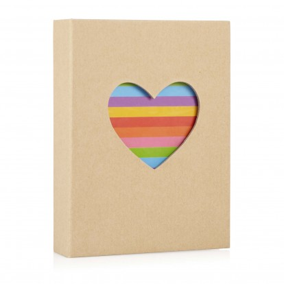 Heart 7x5 Photo Slip-in Album with Natural cover and Rainbow Heart shape
