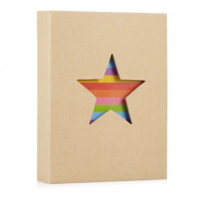 Star 7x5 Photo Slip-in Album with Natural cover and Rainbow footprints