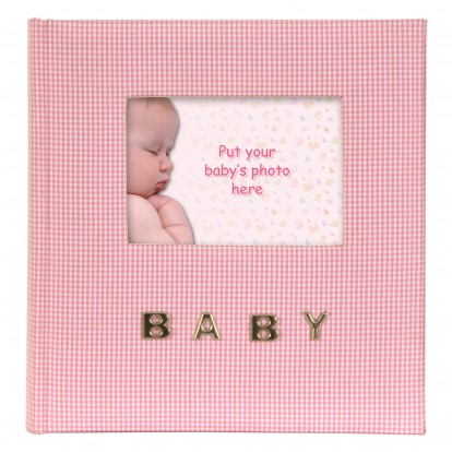 Baby Gingham Fabric 6x4 Slip-in Memo Photo Album for 100 prints -Pink