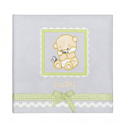 Stitched Bear 6x4 Slip-in Album (180 prints) embroidered suedette and ribbon detail