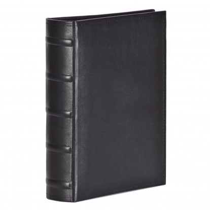 Black Stitched Leatherette 7x5  Photo Slip in Album with Bamboo spine detail (100)