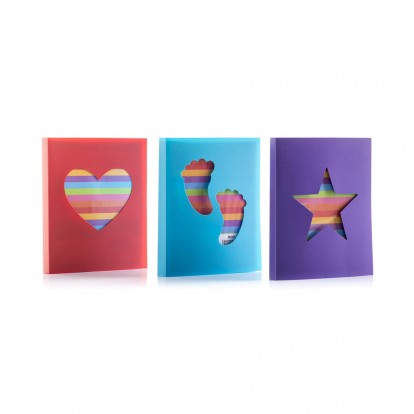 Heart, Star and Footsteps Set of 3 Mini 6x4 Photo Slip-in Albums in Rainbow colours