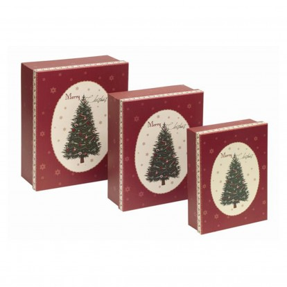 Traditional Christmas Tree Set of 3 Large Gift Boxes  -
