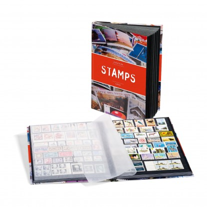 A4 Stamp Stock Book 32 Black page - 16 double sided sheets