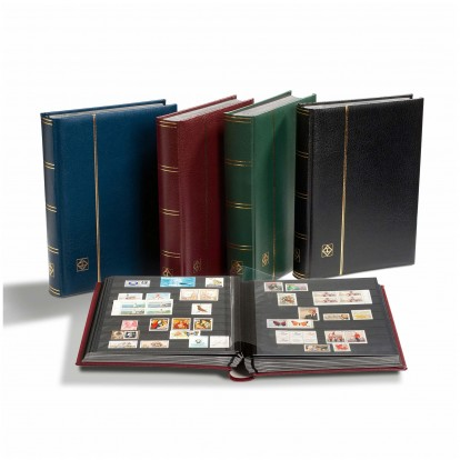 A4 Bonded Leather Stamp Stock Book 64 Black page - 4 colours