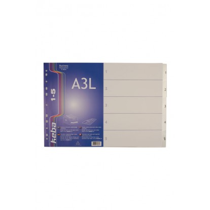 A3 Polypropylene Landscape 5 part Index Dividers (1-5)