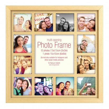 "Instaframe Photo Frame Multi-aperture for 12 instagram photos and central 6x6"" print"