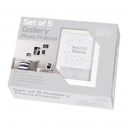 """Set of 5 White Gallery Photo Frames in 3 sizes, 6x4"""",7x5"""" and 8x10"""""""