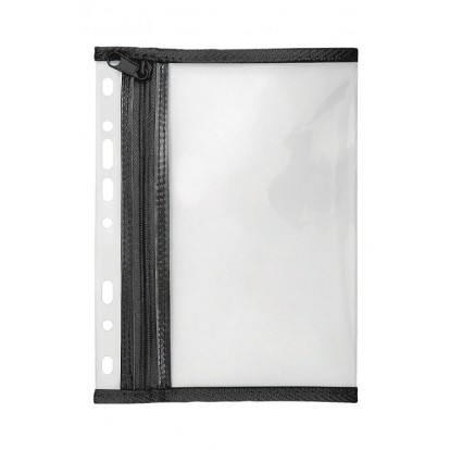 A4 Clear punched Single Zipper Wallet with black trim