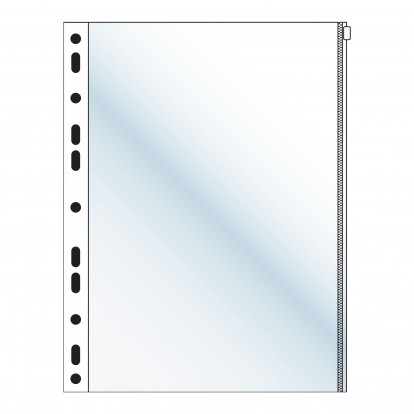 Clear Single A4 punched Zipper Wallet (Single Packs)