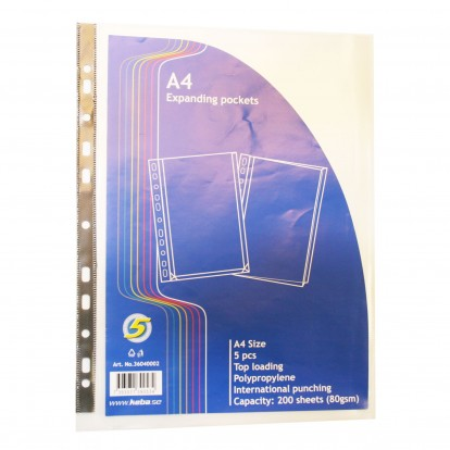 A4 Expanding Top loading punched Pocket pack of 5