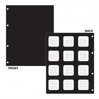Black Matrix Interleaves with white panels to Write on - Pack of 10