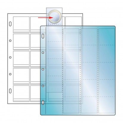 Compact 40mm Coin 20 clear pockets on White Sheet (20) (Pack of 10)